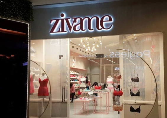 Back-lit LED signboard of Zivame store in Chennai