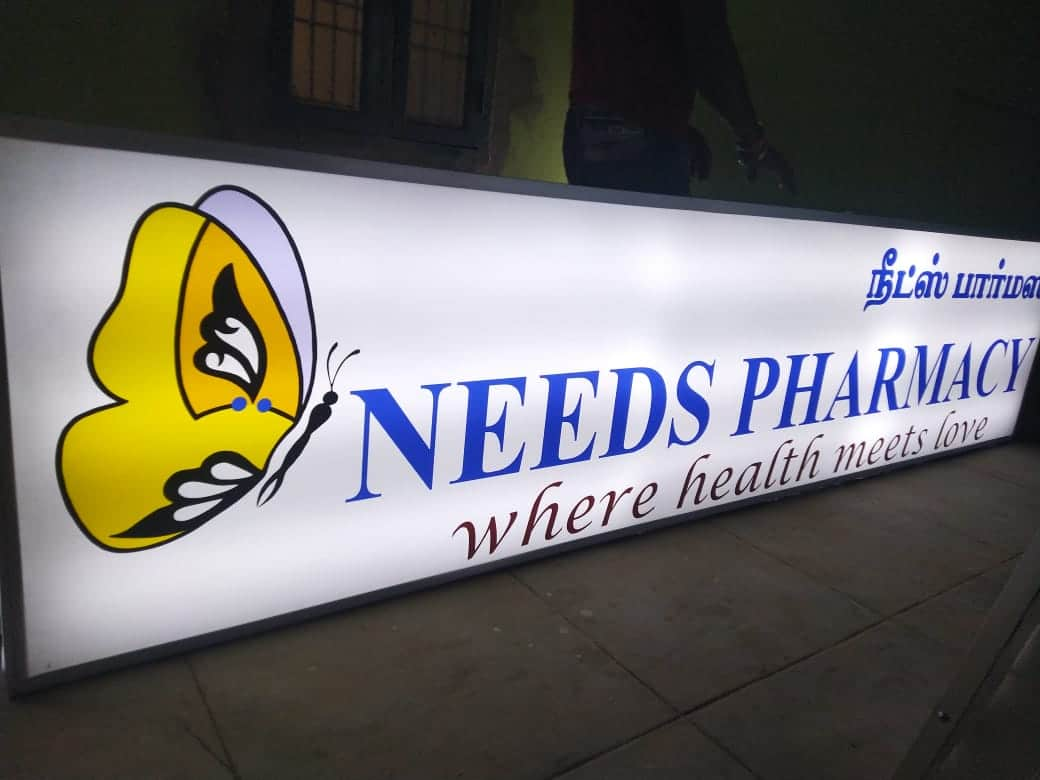 Outdoor backlit box desined for pharmacy
