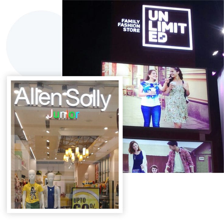 Personalized sign board design for a popular fashion store