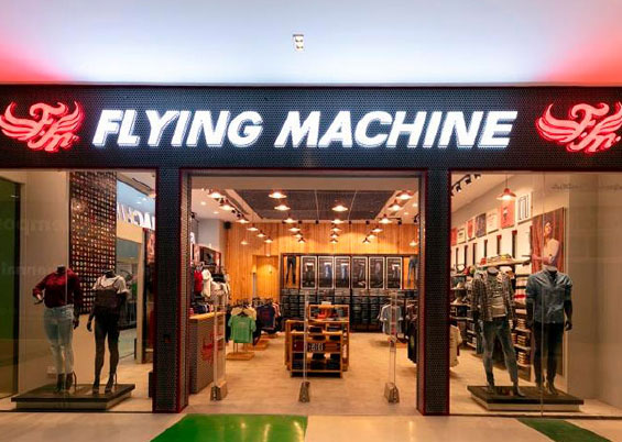Indoor ACP signboard of a clothing and accessories shop - Flying Machine Chennai