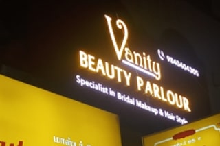 Outdoor ACP LED glow sign board of famous beauty parlour in Chennai