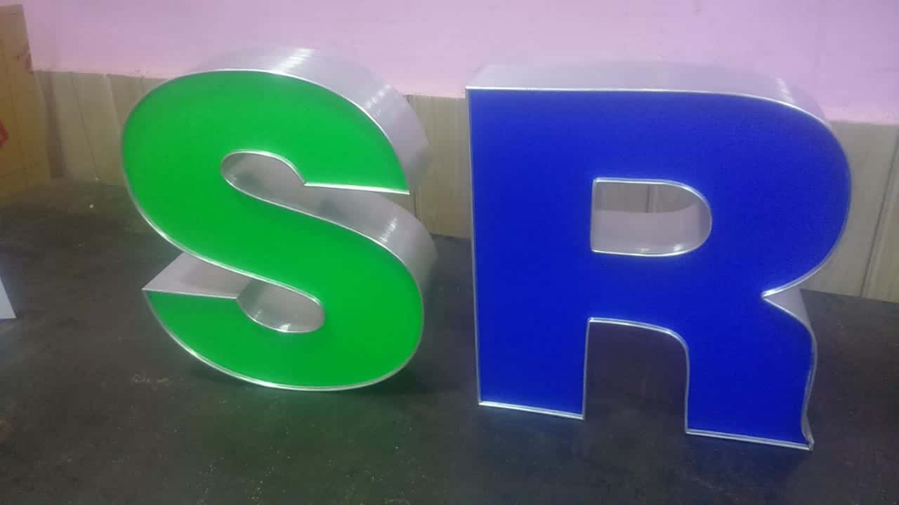 Trim cap LED letter design in English font