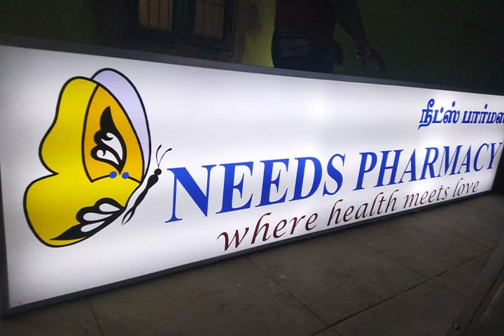 Exterior Backlit Sign board designed for Pharmacy in white background