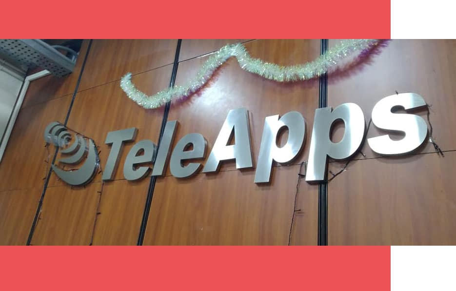 Indoor Stainless steel letters name board customized for popular Software Company