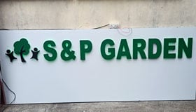 Outdoor PU Painted Aluminium letter sign board installed for real estate company in Chennai