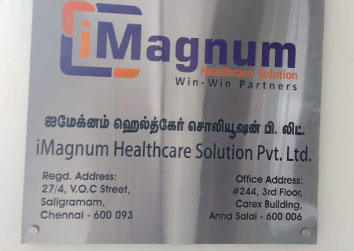 Wall mounted SS Etching square Name plate for a Healthcare Solutions in Chennai